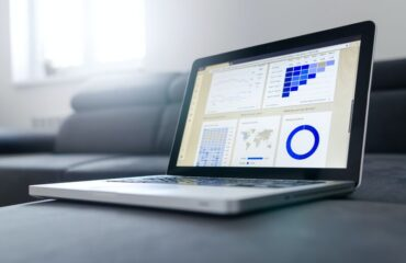Laptop with business dashboard